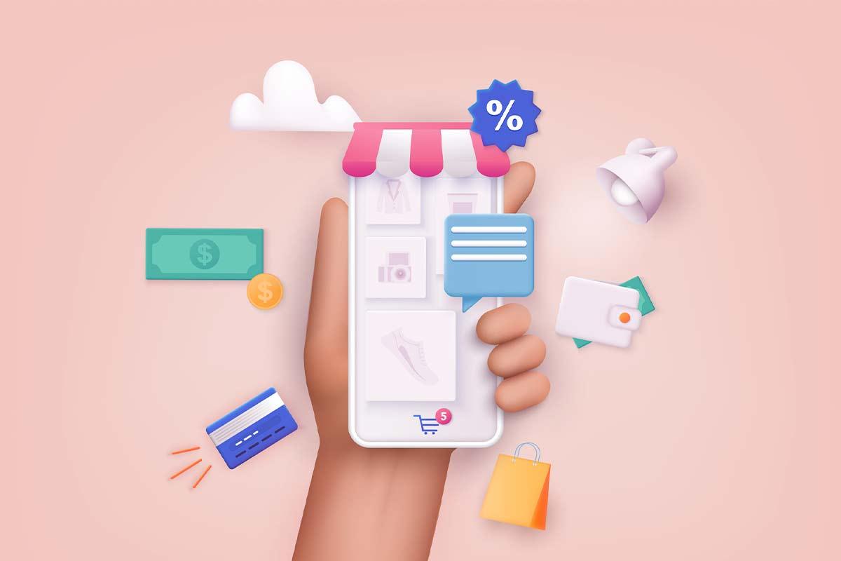 Pessoa segurando um celular com tela aberta em uma loja virtual e símbolos de compra ao lado.