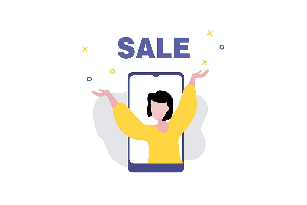 """Celular com a tela preenchida com uma pessoa com as mãos para cima e o escrito """"sales""""."""