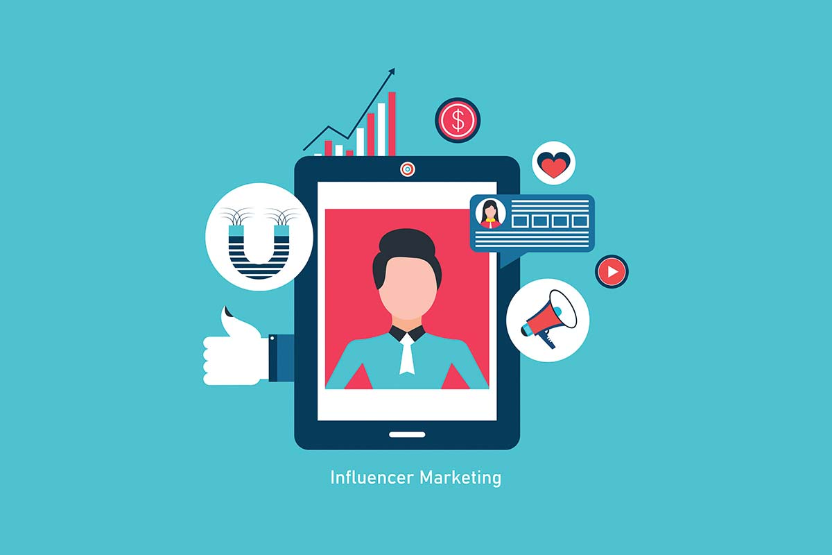 Celular mostrando uma influencer na tela com símbolos remetendo ao marketing de influência.